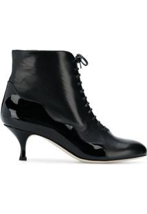 Francesca Bellavita Ankle Boot De Couro Com Cadarço - Preto