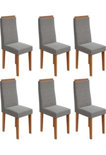 Conjunto Com 6 Cadeiras Dafne Rovere E Cinza