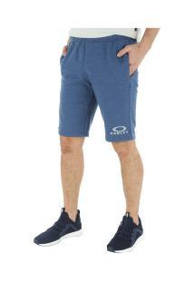 Bermuda De Moletom Oakley Logo Fleece - Masculina - Azul Escuro