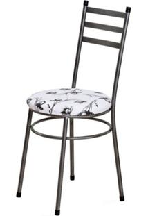 Cadeira Baixa 0.135 Redonda Craqueado/Branco Floral - Marcheli