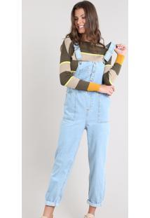 Macacão Jeans Feminino Com Barra Dobrada Azul Claro