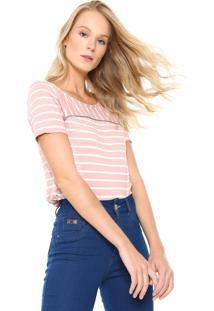 Camiseta Lunender Listrada Rosa