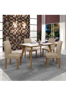 Conjunto De Mesa De Jantar Lavinia Com 4 Cadeiras Olimpia Ii Linho Imbuia Mel Branco