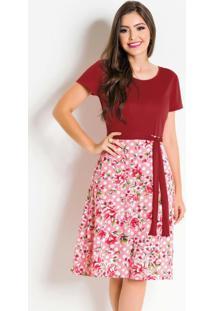 Vestido Vermelho E Estampado Com Laço Na Cintura