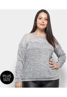 Blusa Heli Tricot Plus Size Feminina - Feminino-Cinza