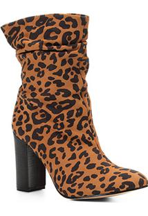 Bota Slouch Shoestock Salto Grosso Feminina - Feminino-Preto+Caramelo