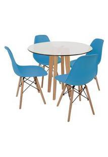 Conjunto Mesa De Jantar Em Vidro 90Cm Com Base Vértice + 4 Cadeiras Eiffel - Turquesa