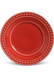 Prato Sobremesa Atenas Cerâmica 6 Peças Vermelho Porto Brasil