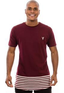 Camiseta Manga Curta Valks Longline Bordô