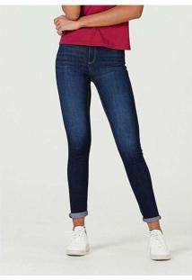 Calça Jeans Feminina Cigarrete Com Elastano Azul