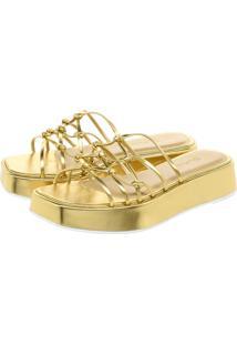 Sandália Plataforma Lallu Dourado Tiras Finas