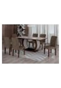 Conjunto De Mesa De Jantar Com Vidro E 6 Cadeiras Maia I Suede Animalle Castor E Chocolate