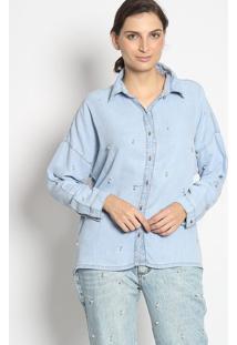 Camisa Com Bordado- Azul Claroenna