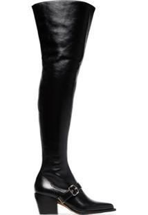 Chloé Bota Over-The-Knee De Couro - Preto