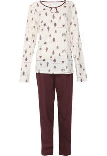 Pijama Pzama Estampado Off-White/Marrom