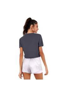 T-Shirt Alto Giro Skin Fit Cropped Detal Azul Marinho