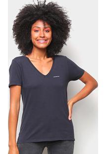 Blusa Calvin Klein Slim Logo Gola V Feminina - Feminino-Marinho