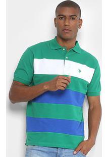 Camisa Polo U.S. Polo Assn Piquet Listrada Masculina - Masculino-Verde