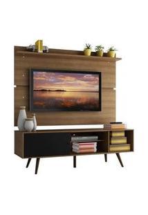 Rack Madesa Cairo E Painel Para Tv Até 65 Polegadas Com Pés De Madeira Rustic/Preto/Rustic