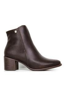 Bota Feminina Ramarim Ankle Boots Cano Curto 2065101 Marrom