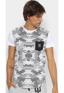 Camiseta Rg 518 Alongada Estampa Camuflada Masculina - Masculino-Branco