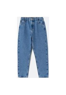 Calça Jeans Mom Com Elástico Na Cintura Lisa | Blue Steel | Azul | 36