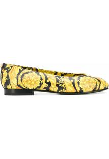 Versace Sapatilha Com Estampa Barroca - Amarelo