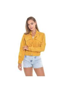 Jaqueta Suede Lemier Collection Bomber Com Bolsos Color Mostarda