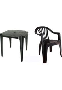 Conjunto Mesa 4 Cadeira Poltrona Plástico Preto Antares