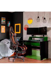 Mesa Gamer Com Led Vision Preta E Verde