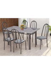 Conjunto De Mesa Com 6 Cadeiras Primavera Ii Preto E Listrado
