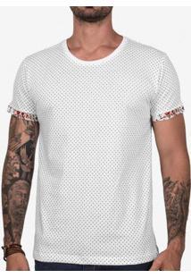 Camiseta Poá Detalhe Floral Off 102669