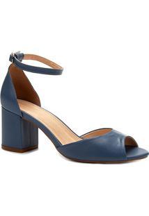 Sandália Couro Shoestock Salto Bloco Feminina - Feminino-Azul