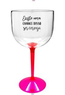 Taça Gin Transparente Com Base Rosa Personalizada Para Live