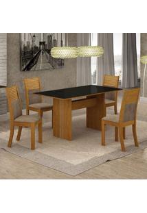 Conjunto De Mesa De Jantar Florença Ii Com 4 Cadeiras Havaí Suede Preto E Cappuccino