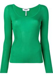 Msgm Blusa De Tricô - Verde