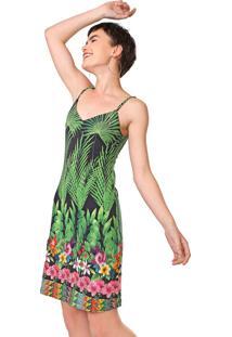 Vestido Desigual Curto Annette Preto/Verde