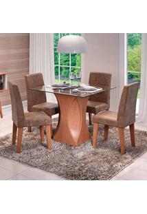 Conjunto De Mesa De Jantar Quadrada Andreia Com 4 Cadeiras Milena Suede Cacau E Savana