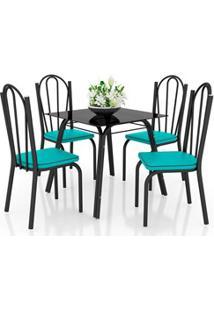 Jogo De Mesa Lótus Tampo De Vidro E 4 Cadeiras 121 Preto/Azul Turquesa