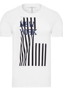Camiseta Masculina Manga Curta Bandeira Vertical - Branco
