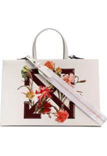 Off-White Bolsa Tote Floral 'Diagonal Arrows' - Branco