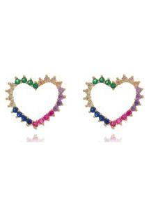 Brinco Coração Vazado De Zirconias Rainbow Folheado A Ouro 18K