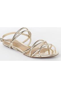 Sandália Rasteira Metalizada - Dourada -Schutz