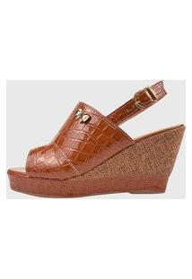 Sandália Feminina Anabela Sapato Salto Plataforma Croco Caramelo