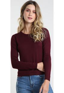 Suéter Feminino Básico Em Tricô Decote Redondo Vinho