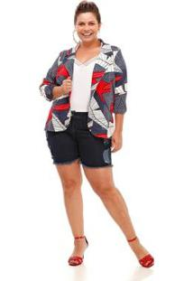 Blazer Plus Size Piquet Print Feminina - Feminino-Vermelho