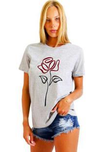 Camiseta Joss Estampada Flor Em Linha Feminina - Feminino-Mescla