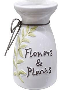Vaso Flowers & Plants Branco - Multicolorido - Dafiti
