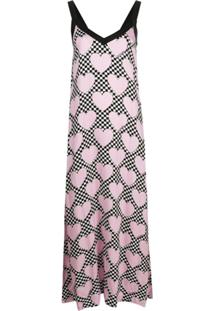 Love Moschino Vestido Reto Com Estampa De Coração - Rosa