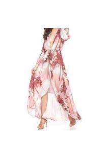 Vestido Longo Amarraçao Rose - Listras Coqueiro Multicolorido